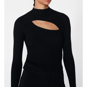 Zara Sweaters - Zara Cut-Out Top Black Asymmetrical Ribbed Sweater